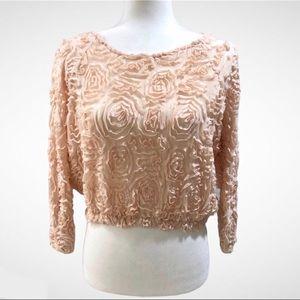 Zara Crop Top Mesh Ribbon Rose Detail Peach Sz Med